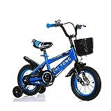 DFBGL Bicicleta para niños Cochecito de bebé de 3 a 12 años para niños y niñas Bicicleta para niños con Ruedas de Entrenamiento, Frenos de Mano y Canasta, edición básica Azul_16 Pulgadas