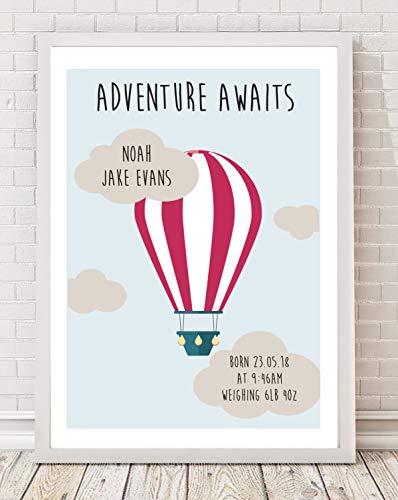 A4 Gepersonaliseerde Hot Air Ballon Geboorte Baby Kwekerij Print PO91