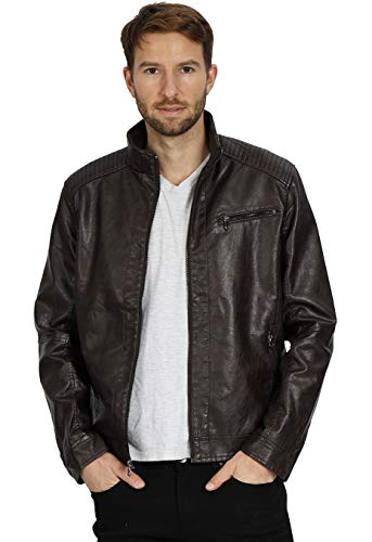 WEEN CHARM Mens Leather Jacket Stand Collar PU Faux Motocycle Jackets Coffee