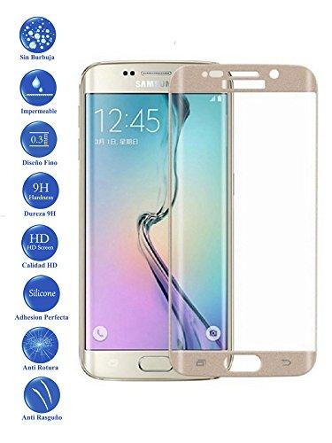 Todotumovil Protector de Pantalla Samsung Galaxy S7 Edge Color Dorado Completo 3D Cristal Templado Vidrio Curvo para movil