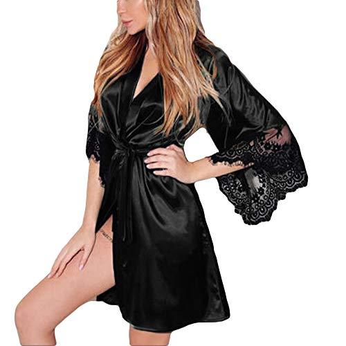 MRULIC Damen leichte Seide Kimono Dressing Nachtwäsche Dessous, Babydoll Spitze Gürtel Bademantel Nachtwäsche Elegante Satin Kleid Robe Silk Satin Nachtwäsche Pyjama(A-Schwarz,EU-36/CN-M)