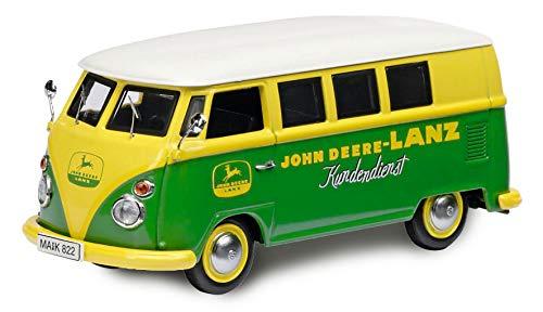 Schuco 452650500 VW T1c Bus JDL, John-Deere-Lanz Design, Modellauto, Zinkdruckguss, Maßstab 1:87, gelb/grün