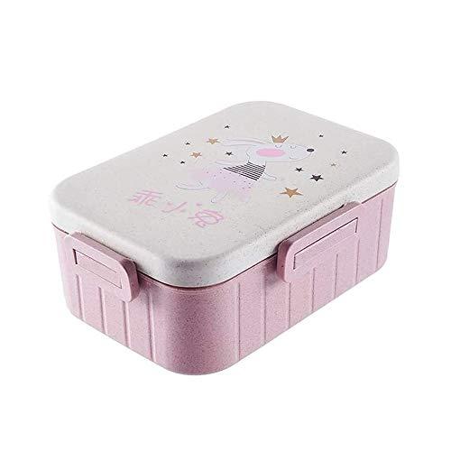 CHENCfanh fiambrera Fiambrera, a prueba de fugas caja de Bento for adultos de los niños, envase de alimento con 2 compartimentos, reutilizable Cubiertos de bambú paja Alimentos for microondas Apto for
