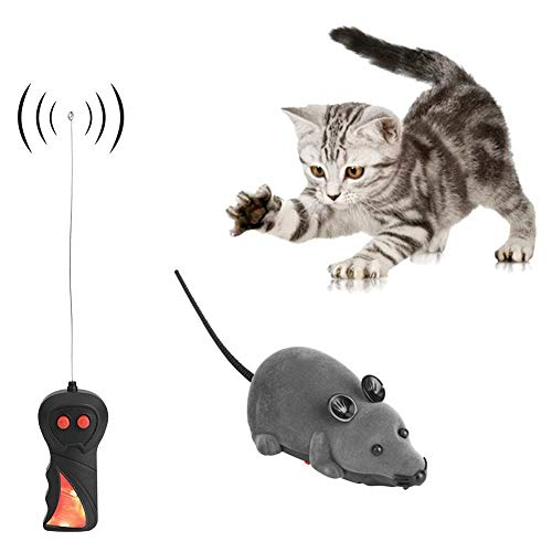 Remote Control Mouse Wireless Mouse Mice Toy for Cat Dog Funny Rat Novelty Gift Pet Toy (Brown)