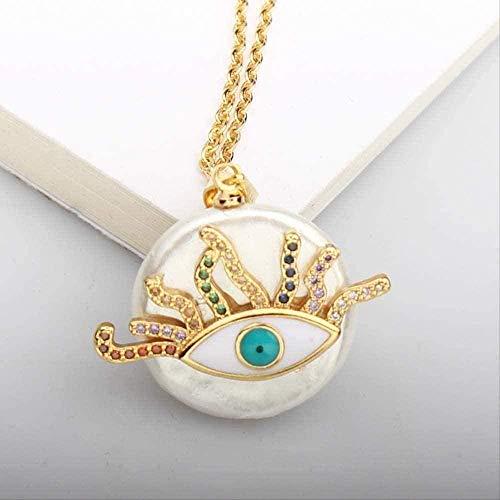 NC110 Collar Collar pavé Color Piedra Collar de pestañas Amuleto de Ojo Malvado Collares Pendientes para Mujer Joyería de Moda para Mujeres Hombres Regalos