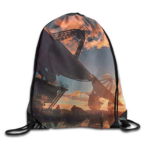 asegy Digital Art Clouds Sky Drawstring Pack Beam Mouth Gym Sack Shoulder Bags Men & Women