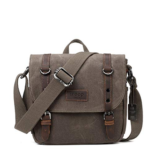 TRP0427 Troop London Heritage Canvas Shoulder Bag, Across Body Bag, Smart Travel Bag with Top Handle