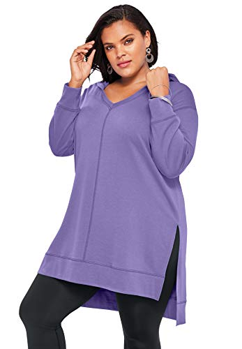 Roaman's Women's Plus Size Tunic Hoodie - 26/28, Vintage Lavender