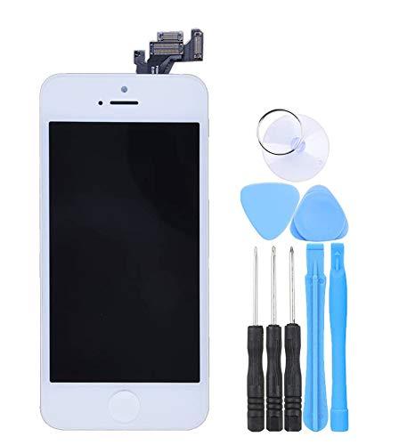 LL TRADER Pantalla Completa para iPhone 5G Blanco, Reemplazo de Táctil Retina LCD Display Digitalizador con Botón de Inicio, Cámara Frontal, Sensor de Proximida, Altavoz de Auricular y Herramientas