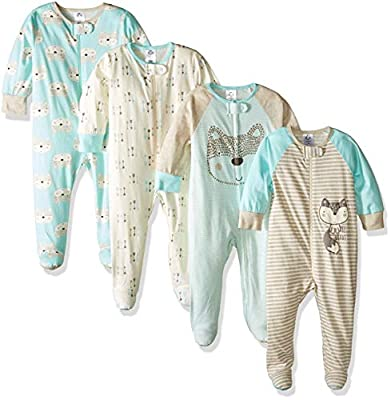 Gerber Baby Boys' 4 Pack Sleep N' Play Footie, Aqua Fox, 0-3 Months