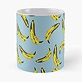 Warhol Art Underground Velvet Bananas Pop Blue Andy Record Music Best Taza de café de cerámica de 325 ml