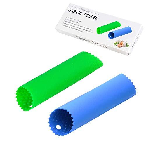 Maxracy 2 Set Silicone Garlic Peeler Easy Roller Tube Useful Garlic Odorfree Kitchen Tool BlueGreen