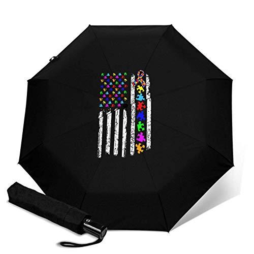 Paraguas automático con diseño de bandera de Estados Unidos con tres pliegues