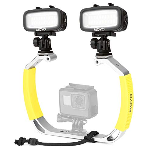 Movo XL Diving Rig Bundle with Waterproof LED Lights - Compatible with GoPro HERO3, HERO4, HERO5, HERO6, HERO7, HERO8, HERO9, and DJI Osmo Action Cam - Scuba Accessories for Underwater Camera