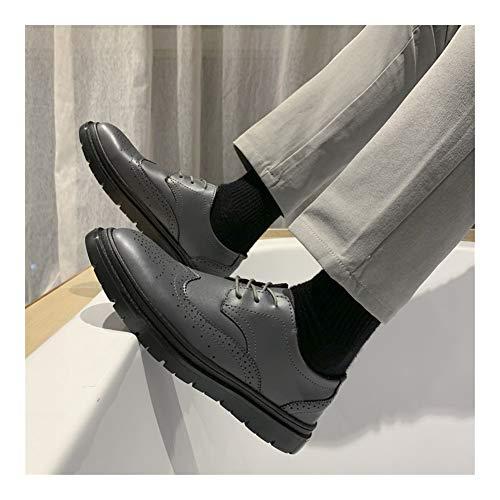 Best-choise Oxfords de Negocios for Hombres Zapatos de Talla Brogue con Cordones Punta de ala Plana Antideslizante de Cuero sintético Punta Redonda Transpirable Low Top Llamativo