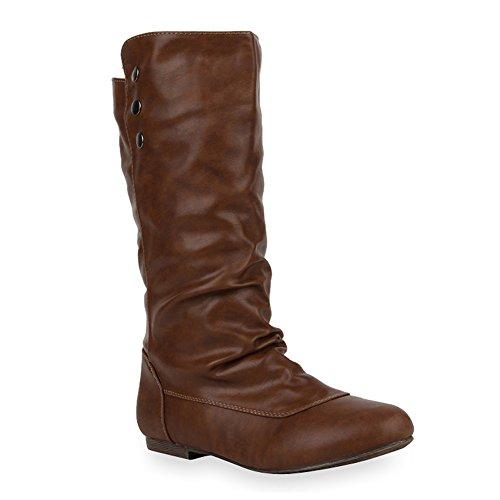 Stiefelparadies stiefelparadies Damen Schlupfstiefel Boots Schuhe 47047 Braun Avelar 36 Flandell