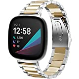 Shangpule Compatible with Fitbit Sense/Fitbit Versa 3 Bands, Stainless Steel Metal Replacement Strap Wrist Band Compatible with Fitbit Sense/Versa 3 Large Small Women Men (Silver+Gold)