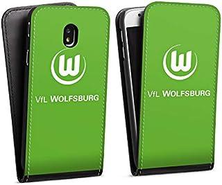 DeinDesign Flip Case kompatibel mit Samsung Galaxy J3 2017 Tasche Hülle VFL Wolfsburg Wappen Offizielles Lizenzprodukt