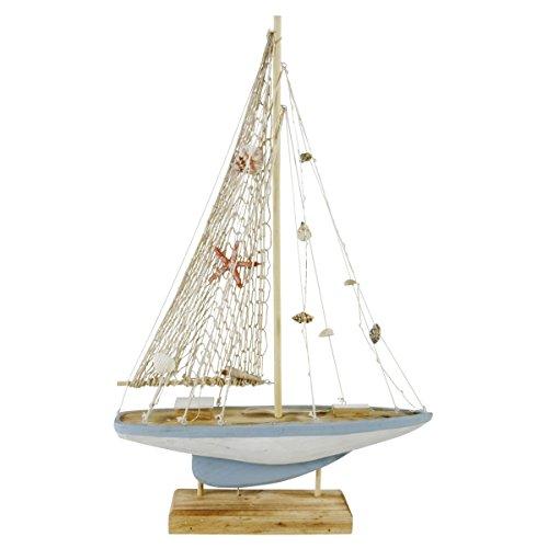 Dekorative LED Skulptur Holz-Fischerboot auf Sockel mit Muschel-Deko, Vintage, Natur-Weiss-blau, Dekoration im Shabby-Look/Landhausstil, (HxBxT): 65 x 45,5 x 8,3 cm, Beleuchtung, batteriebetrieben