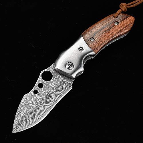 NedFoss Parrot Damast Taschenmesser Klappmesser, EDC Holzgriff Damaststahl Messer, Folder Knife 7cm Klinge, Damastmesser mit Gürtelclip - extra scharf (Parrot)