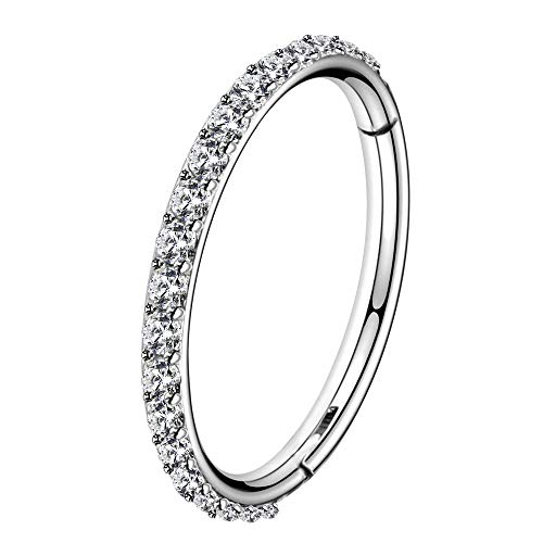 OUFER 18G 1.0mm Nose Ring Hoops Hinged Seamless Segment Helix Piercings 316L Stainless Steel CZ Line Daith Tragus Cartilage Earring Jewellery