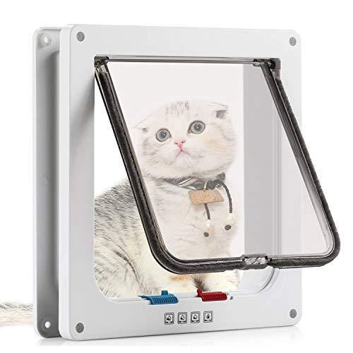 Sailnovo Puerta para Gato con Cierre magnético de 4 vías, Puerta para Mascotas para Gatos y Perros pequeños, Puerta para Gatos con túnel, M Blanco 16 x 15.7 x 5.5 cm