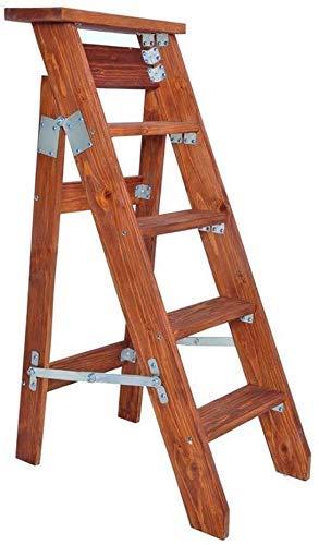 Escalera Plegable telescópica portátil, Escalera Plegable Taburete de Escalera Unilateral Taburete Escalonado en Espiga Escalera Ascendente Recta Simple de Madera Maciza Muy Estable (Color: B)