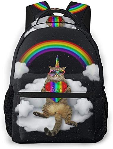 Gato unicornio en gafas de sol sosteniendo color corazón básico viaje portátil mochila moda escuela bolso gato unicornio en gafas de sol con corazón