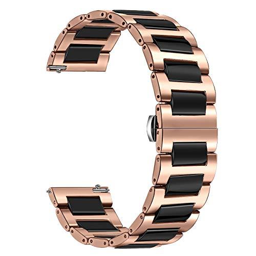 TRUMiRR 20mm Reloj de cerámica de la Venda de la Correa de Todos los Enlaces Desmontable para Garmin Vivoactive 3, Huawei Watch 2 (Sport), Samsung Gear Sport, Gear S2 Classic/Galaxy Watch3 41mm
