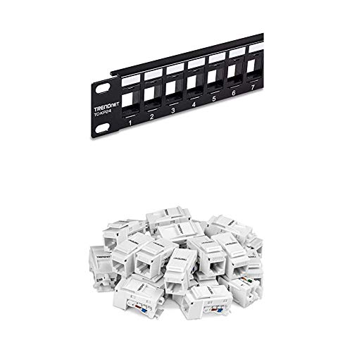 TRENDnet 24-Port Blank Keystone 1U Patch Panel Bundle, Includes (Qty...