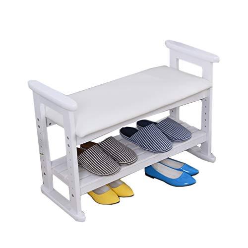 H-type chaussure banc en bois chaise ascenseur cadre canapé reste salon balcon balcon 2 couleur en option 530mm * 330mm * 510mm (Couleur : Blanc, taille : 530mm)