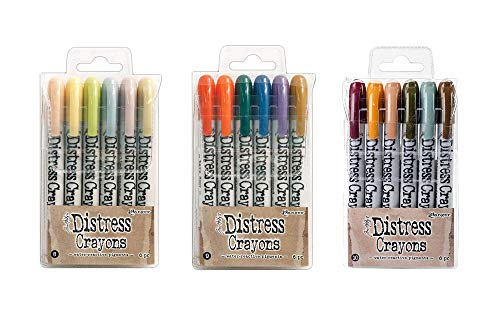 Ranger Tim Holtz 18 Distress Crayons Bundle: Sets 8, 9, 10