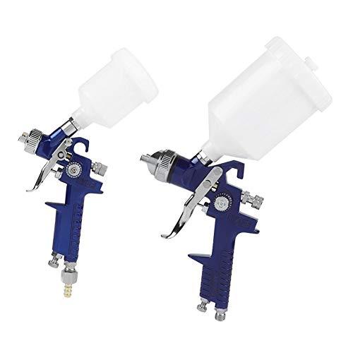 Juego de pistolas de pulverización Gravity Feed Pneumatic Paint Spray Gun 1.4mm + 0.8mm Boquillas Juego de herramientas neumáticas con copas para la industria automotriz, equipos y pintura de muebles