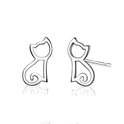 Belons 925 Sterling Silber Niedliche Katze Kätzchen Ohrstecker Mädchen Ohrstecker Ohrringe Ohrschmuck
