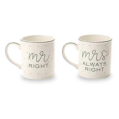 Mud Pie Mr. & Mrs. Always Right Wedding Set of 2 Mugs