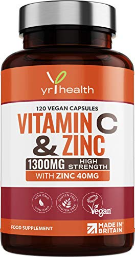 Vitamin C 1300mg and Zinc 40mg High Strength - for Maintenance of Normal Immune System – for Men and Women - 120 Vegan Capsules - 2 per Daily Serving - Made in The UK by YrHealth
