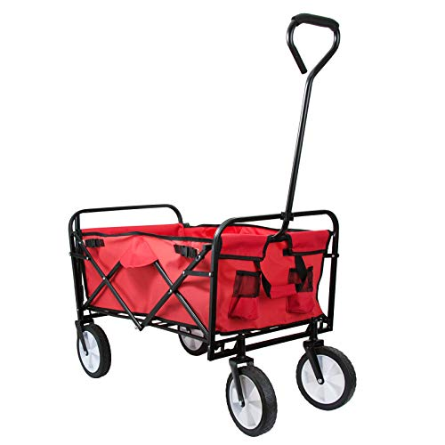 Grafner Bollerwagen faltbar, 90 kg Tragkraft, mit 2 Netztaschen und 360° Vollgummi-Reifen, entnehmbare Plane, ideal für Ausflüge, Stand, Festivals, Garten, Handwagen Transportkarre