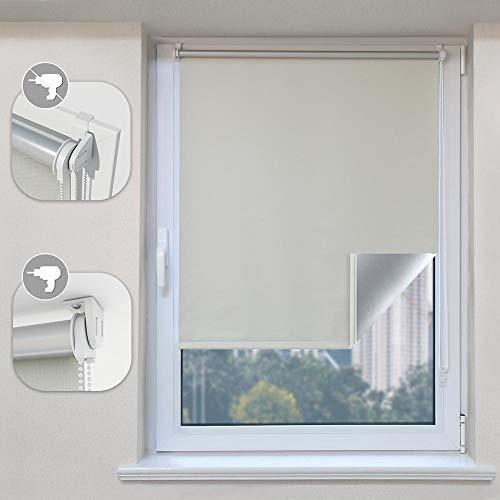 SBARTAR Verdunkelungsrollo klemmfix Thermorollo(Crème 65 x 170cm BxH) ohne Bohren/mit Bohren für Fenster und Tür,Sichtschutz & Sonnenschutz