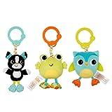 Bright Starts Spielzeug zum Anbringen an den Kinderwagen, Hund, Frosch oder Eule, durch Ziehen wird Vibration ausgelöst, aus verschiedene Texturen und Mustern