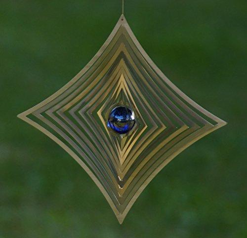 A2004 – steel4you hochwertiges 3D Windspiel aus Edelstahl mit Glasperle – Raute 19cm x 19cm – made in Germany - 6