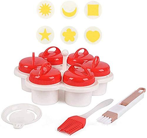Hard Boiled Egg Mold To Create -Creative Modeling Fancy Egg Cup, With 6 Pieces Egg Shaper, Silicone Egg Boiler Set With Pusher, Egg Shaper Omelette Non-Stick Cooking Tool (B)