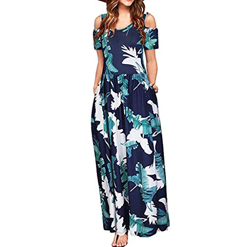 YWLINK Damen Sommer Kalte Schulter Blumendruck Elegant Maxi Langes Kleid Strandkleid Party Taschenkleid(Marine,M)