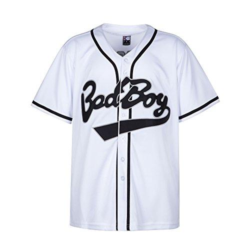 MOLPE Bad Boy Jersey, 10 Smalls Shirt Damen, Schwarz Kleidung für Herren, 90er Jahre Hip Hop Baseball Jersey, Baseball Jersey-Kleid - Weiß - Mittel