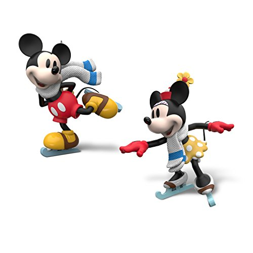 Hallmark Keepsake Mini Christmas Ornaments 2018 Year Dated, Disney Mickey and Minnie Mice on Ice, Set of 2