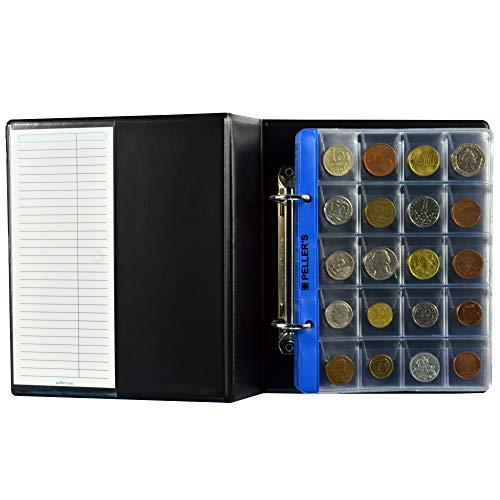 PELLER'S AS160 Sammelalbum für 160 5 Münzhüllen, Für 60 28mm und Für 100 Münzen bis zu Ø 22,5mm. Münzalbum S, Plastik, Schwarz, Model S