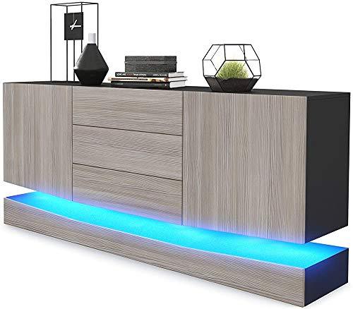 Sideboard mit drei Schubladen und zwei Türen, Kommode,A-Korpus mattmit LED Beleuchtung