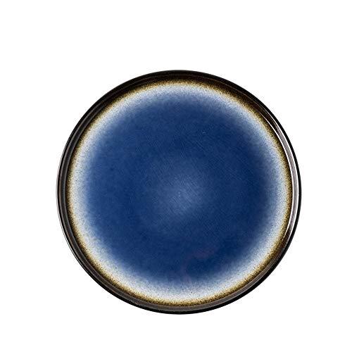 Piatti in Ceramica Creativi Vintage, Piatto da Dessert Rotondo, Piatto da Bistecca in Ciotola di Pasta Occidentale, Stoviglie Personalizzate (Blu) (Color : 8.5')