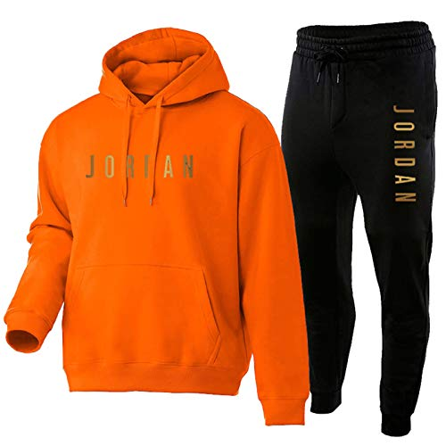 Trainingsanzug Set Herren,Jungen Jordan Sportanzug Hoody Sweatshirt Und Sweatpants,Comfy 2 Piece Outfit Set Hoodies Und Hosen orange-M