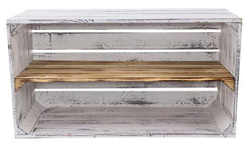 Moooble breite graue Holzkisten mit geflammten Mittelbrett | NEU | 74,5x40x31 cm | Sideboard Vintage Stil optimal für Multimedia Geräte (2)