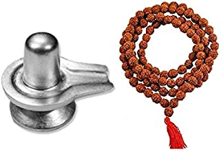 Finaldeals Parad Shivling Mercury Shivlingam Shivling - 82 Gram with Rudraksha Mala Small Beads Rudraksha Japa Mala